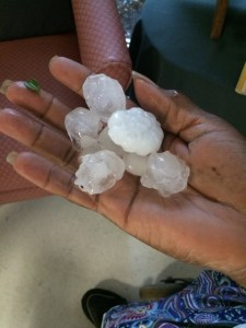 Hail photo by Becky Engebretsen from Stuart Convalescent Center, Stuart.