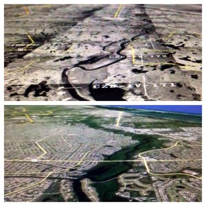 Contrasting images: Port St Lucie area along North Fork of St Lucie River, 1958 US Government aerials and Google Earth today. Courtesy Todd Thurlow.