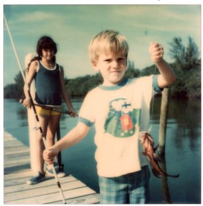 My brother Todd and I on Ronnie Nelson's dock, Martin County, FL, IRL, ca 1974. (Thurlow Family Album)