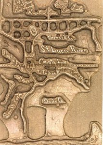 Rare wood cut map of St Lucie River, ca. 1885, by Homer Hines Stuart.  Image shows water depth in heart of St Lucie River near today's Roosevelt Bridge at 20 feet. (Courtesy of historian, Sandra Henderson Thurlow)