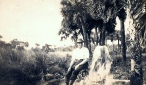 "Man next to artesian well, IRL. ""Mr Doug Witham allowed me to copy this photograph he purchased over eBay. It is of an unidentified man in St. Lucie Gardens. That is the huge subdivision of land Sir. Edward Reed purchased from Hamilton Disston. Since the notation on the back was written at Walton it is probably some place pretty close to the Indian River Lagoon. Sandra H.Thurlow 8-15)---Used with permission/purchased on Ebay by Doug Whitam and shared via Sandra Henderson Thurlow."