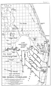 "1909 map of South Florida from the 1909 State of Florida report ""Report on the Drainage of the Everglades of Florida, By J. O. Wright, Supervising Drainage Engineer."" (Courtesy of Dr Gary Goforth.)"