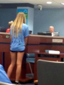 Evie Flaugh, speaks on behalf of her team, before the commission. 8-18-15. (JTL)
