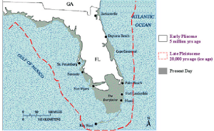 Map of Florida's shoreline expanded and contracted over the millennium. BARR MAPS