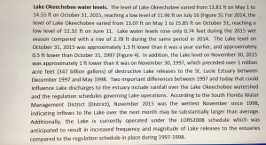 Section of Dr Goforth's report on Lake O levels December 9, 2015.