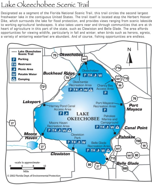 Map of cities around Lake O and trail you can take to see this area.