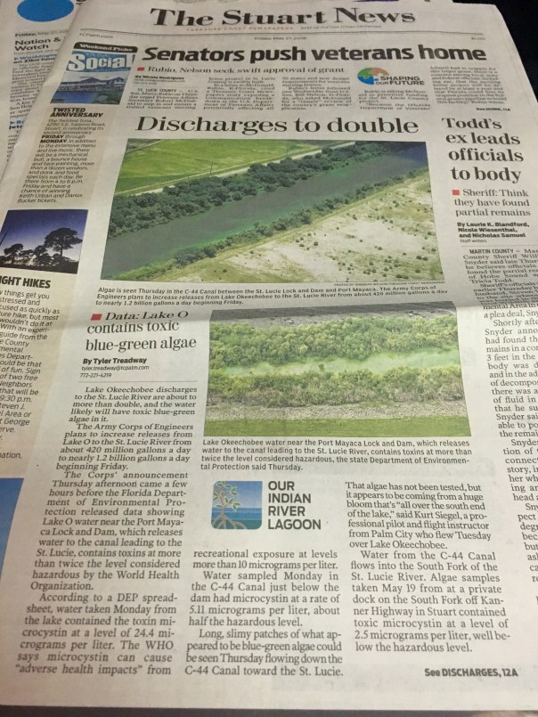 Front page Stuart News 5-27-16