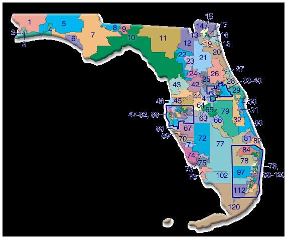 Florida State Representatives Map Speak Up for Florida's Wildlife   Jacqui Thurlow Lippisch