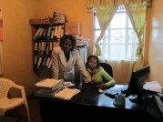 Mary and her colleague in their office.