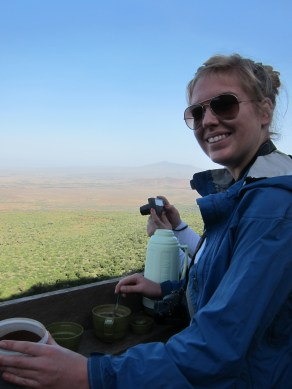 Rachel helping us get our caffeine fix when we stopped at the Great Rift Valley overlook on the way to Mt. Longonot. You can see it just over her right shoulder.