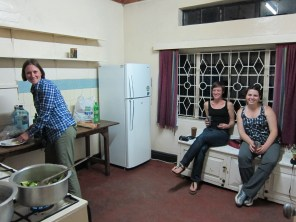 Enjoying the kitchen at the guesthouse.