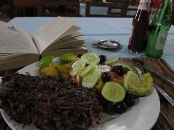 Coconut crusted kingfish and salad