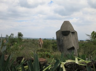One of the first sites you see entering the grounds. Yep, that's a camel next to a pirated Easter Island statue.