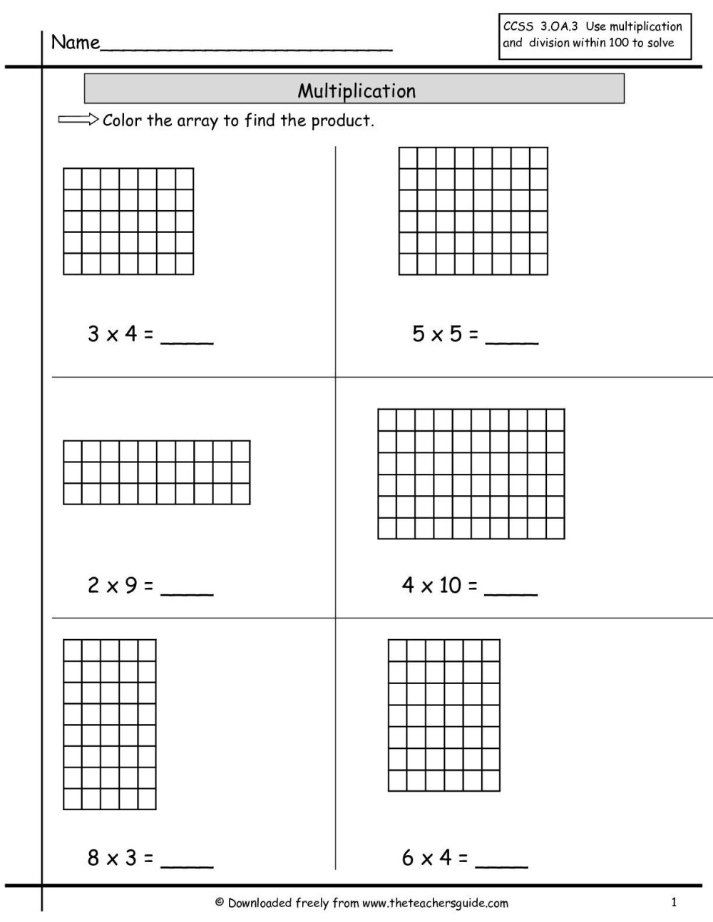 medium resolution of Multplication Arrays Worksheets   Printable Worksheets and Activities for  Teachers