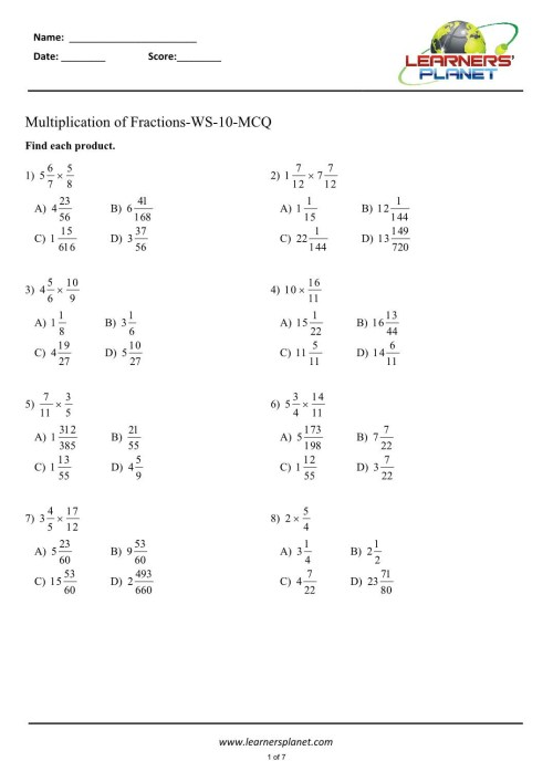 small resolution of 4th Grade Fraction Multiplication Worksheets   Printable Worksheets and  Activities for Teachers