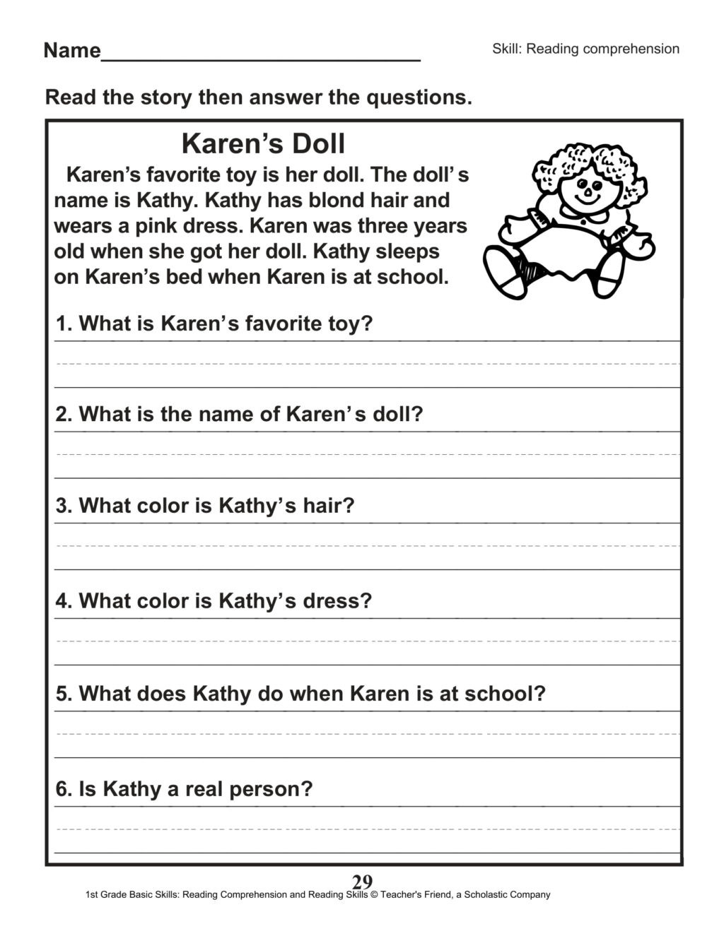 30 1st Grade Reading Comprehension Worksheet