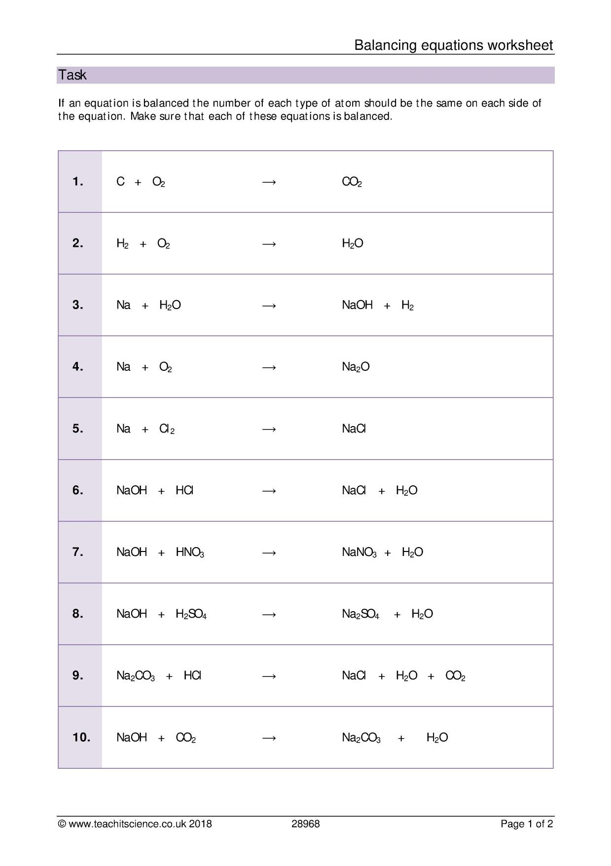 30 Chemistry Equations Worksheet 1