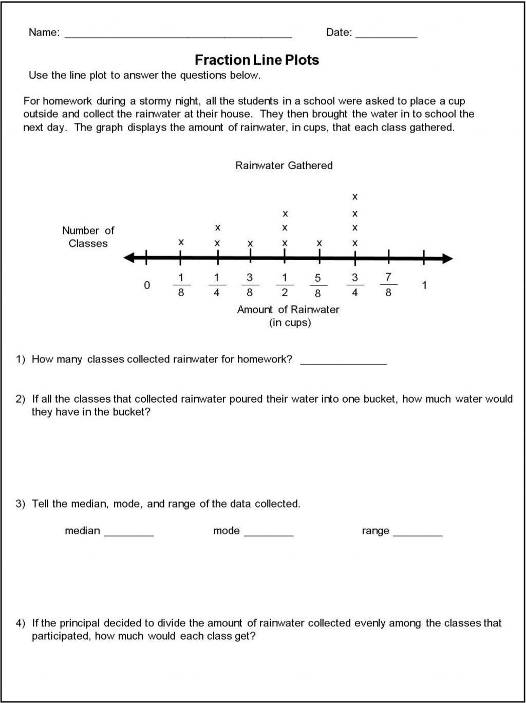 Line Plots Worksheets With Fractions Template Library