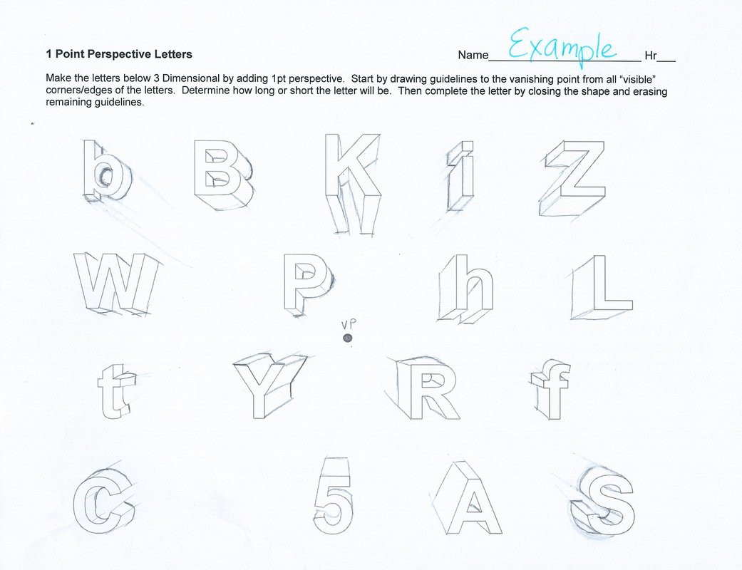 30 One Point Perspective Letters Worksheet