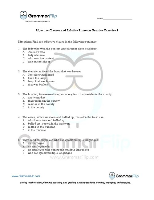 small resolution of Relative Pronouns Who Worksheet   Printable Worksheets and Activities for  Teachers