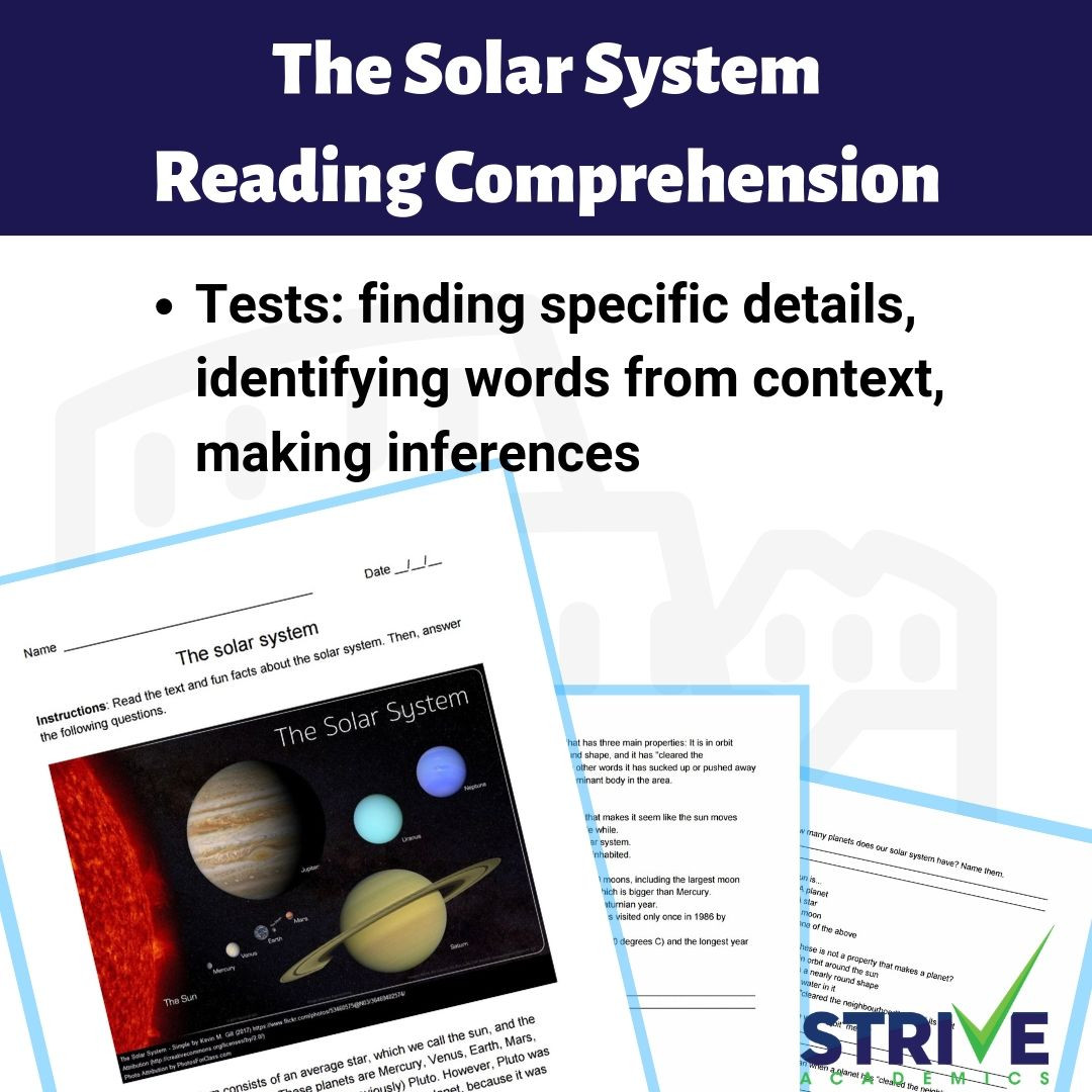 Solar System Reading Comprehension Worksheet Template