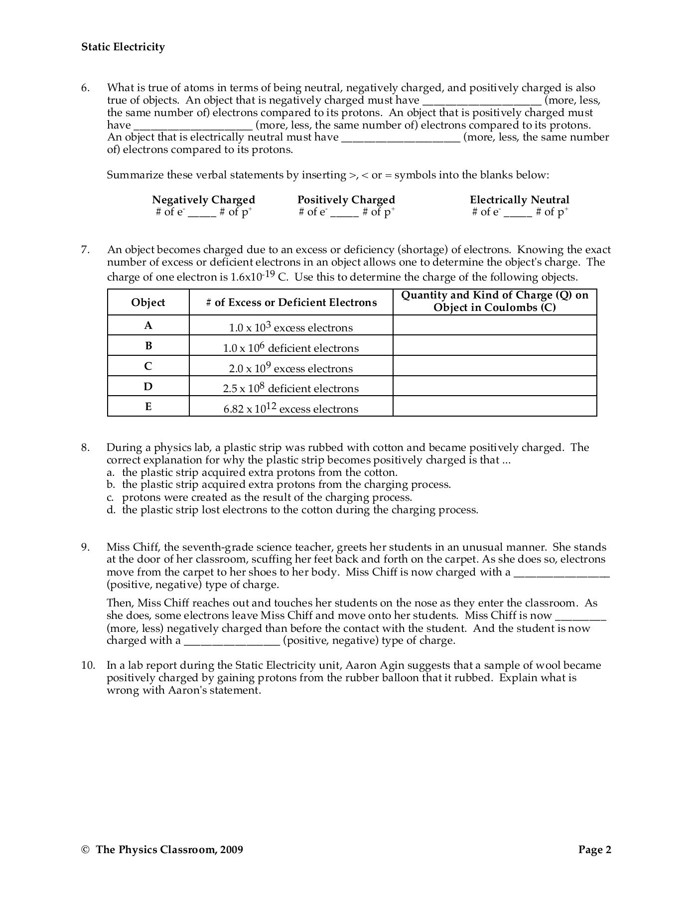 30 Static Electricity Worksheet