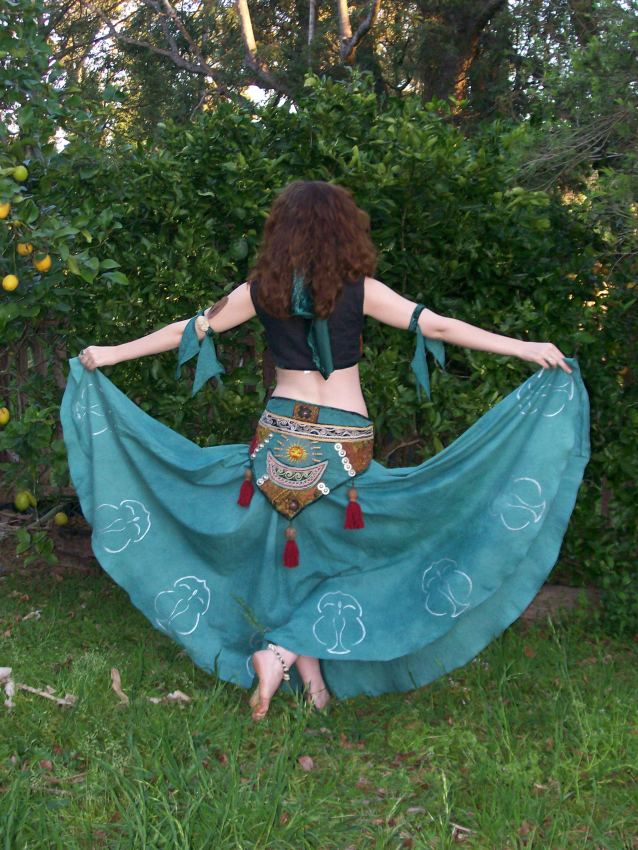 Back view of Trash to Treasure belly dance costume