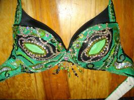 Green bra in the process of being altered.