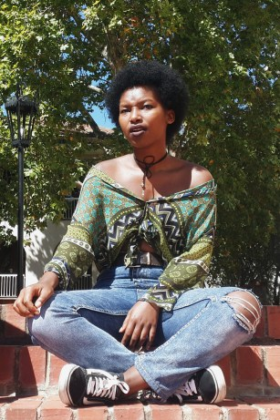 """""""I dress according to how I feel. So it could be vintage, hip-hop, literally whatever I'm feeling like that day. My style mirrors my mood."""" Unathi Balele, 2nd year Journalism student."""