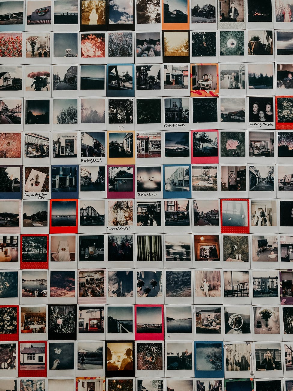 collection of old instant photos with trips