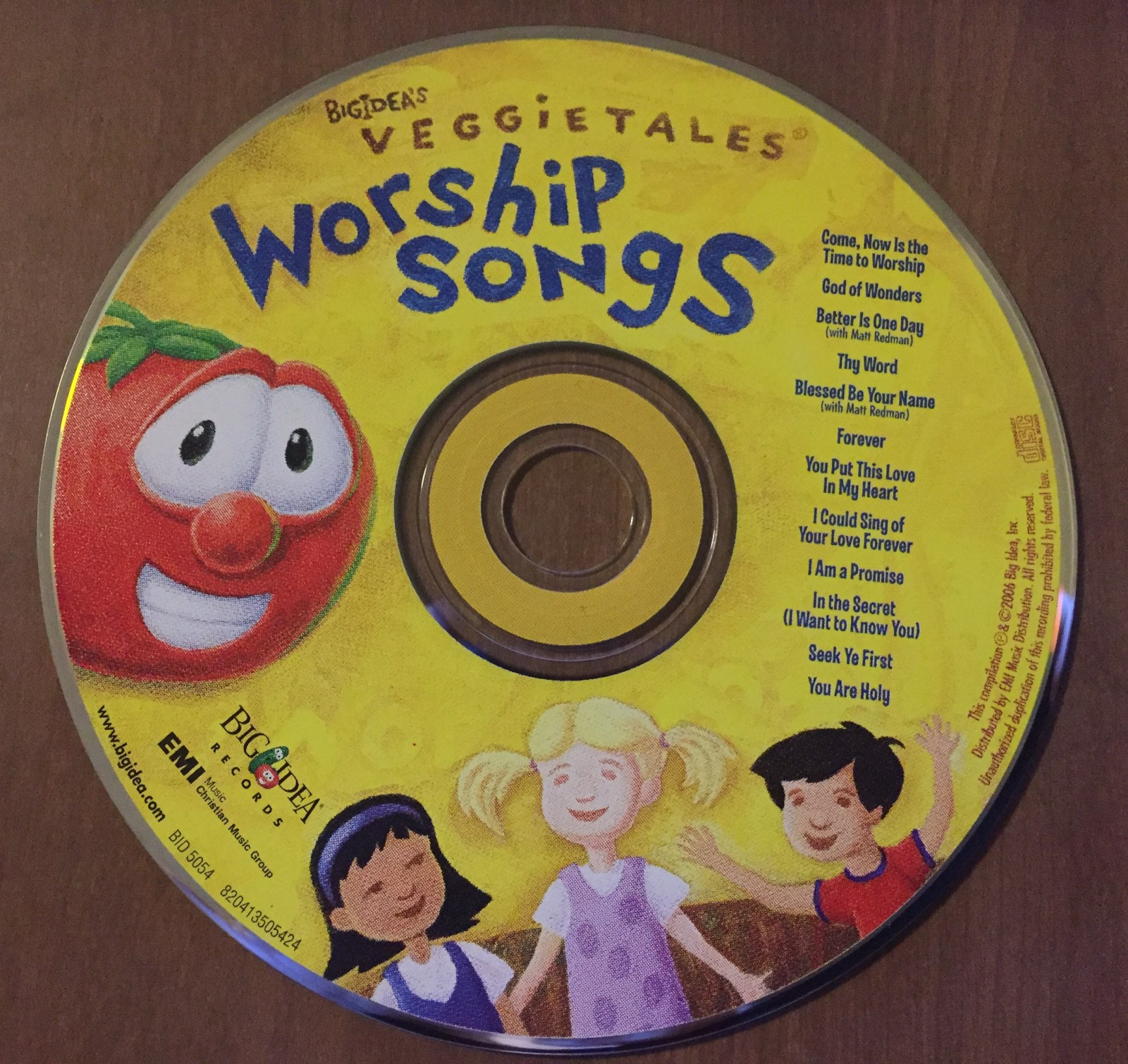 Veggie Tales Worship Songs CD on a wooden table