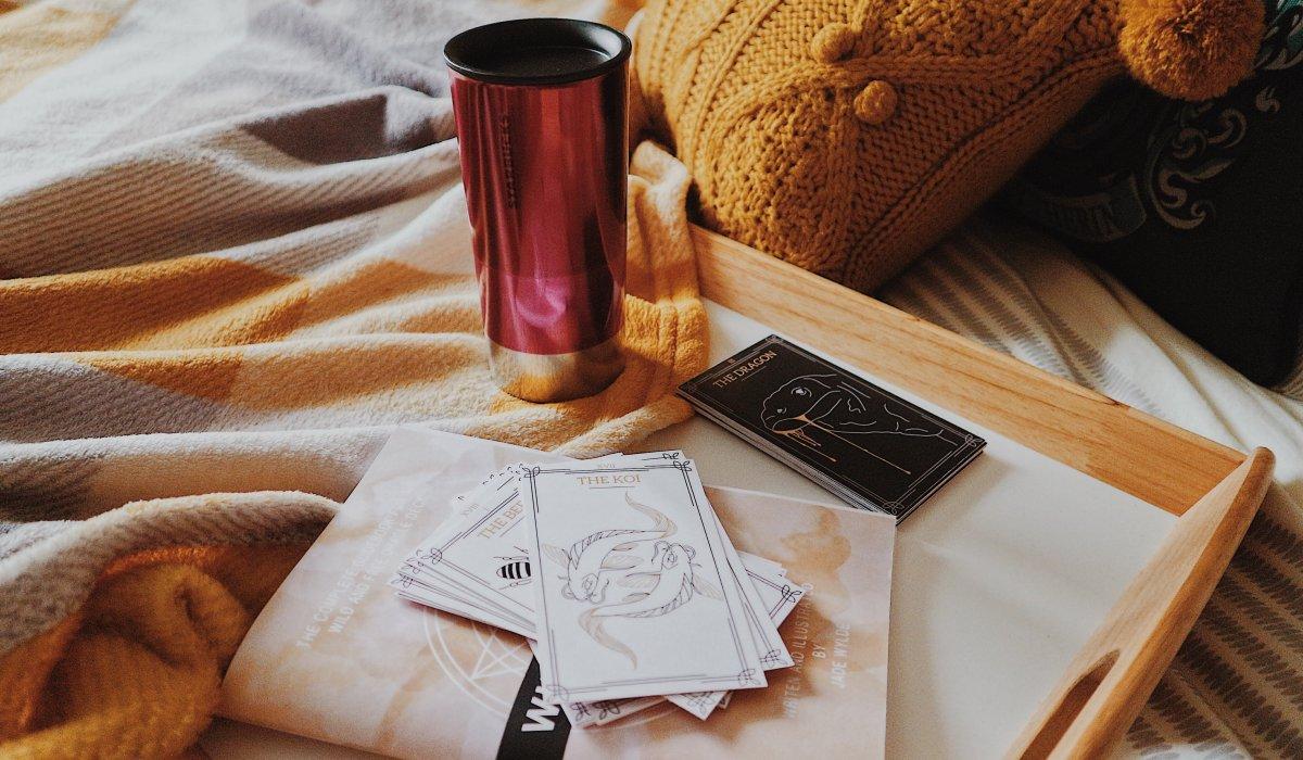 Starbucks Travel Mug | Mustard Throw Pillow | Wild and Free Oracle Deck