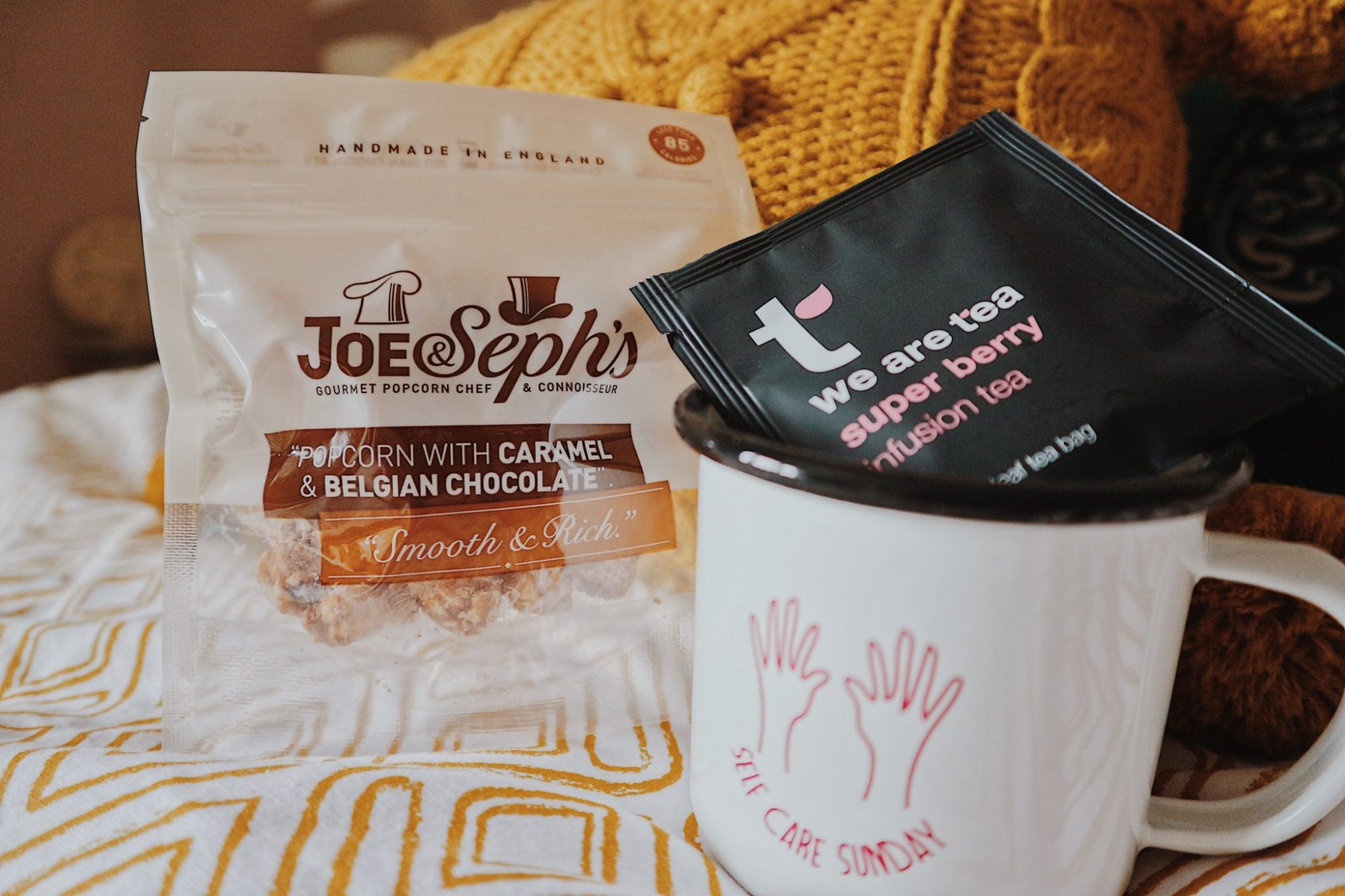We Are Tea Super Berry Infusion Tea + Joe & Seph's Caramel and Belgian Chocolate Popcorn