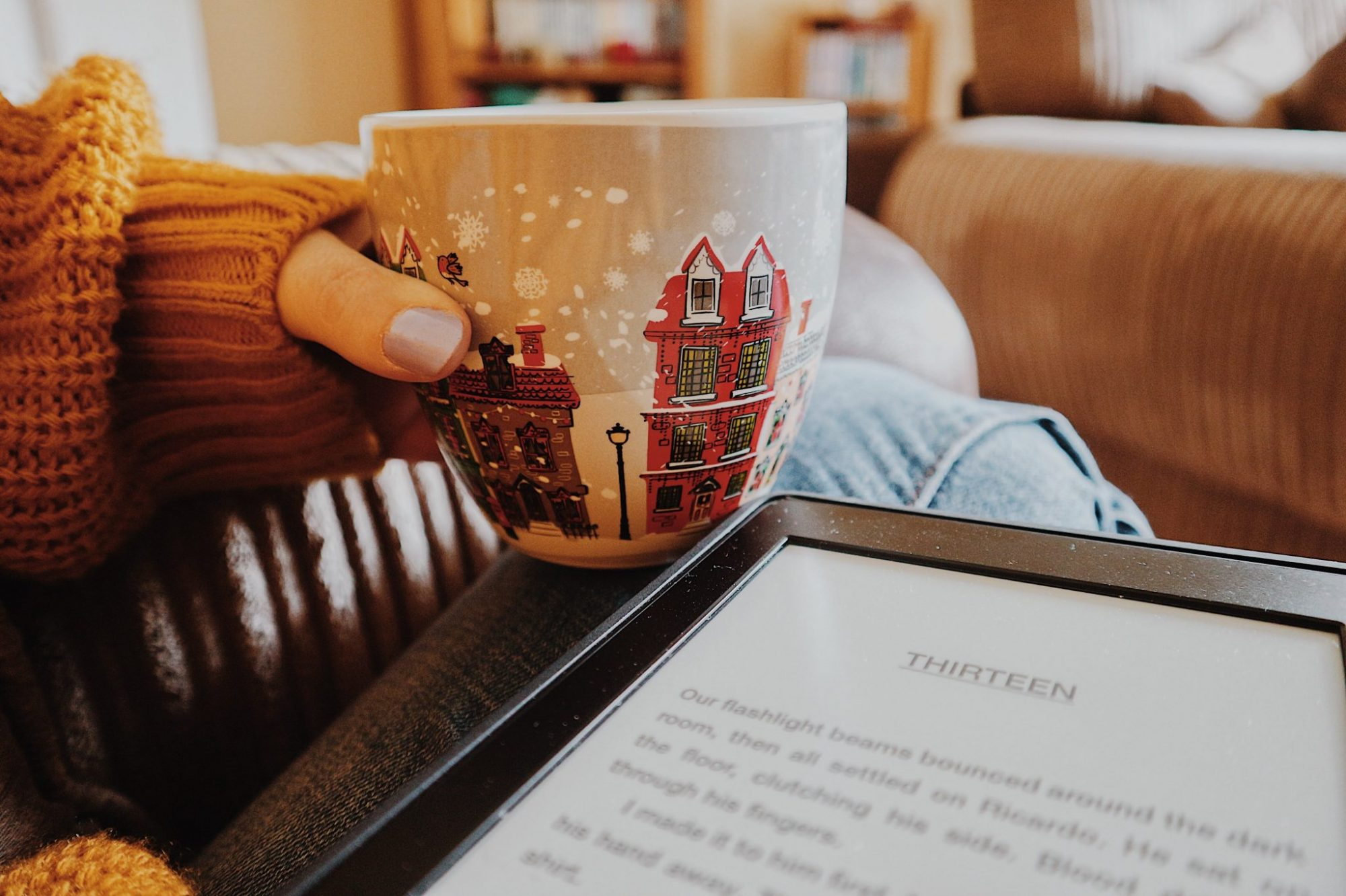 Kindle | Coffee + Cup | Mustard Jumper