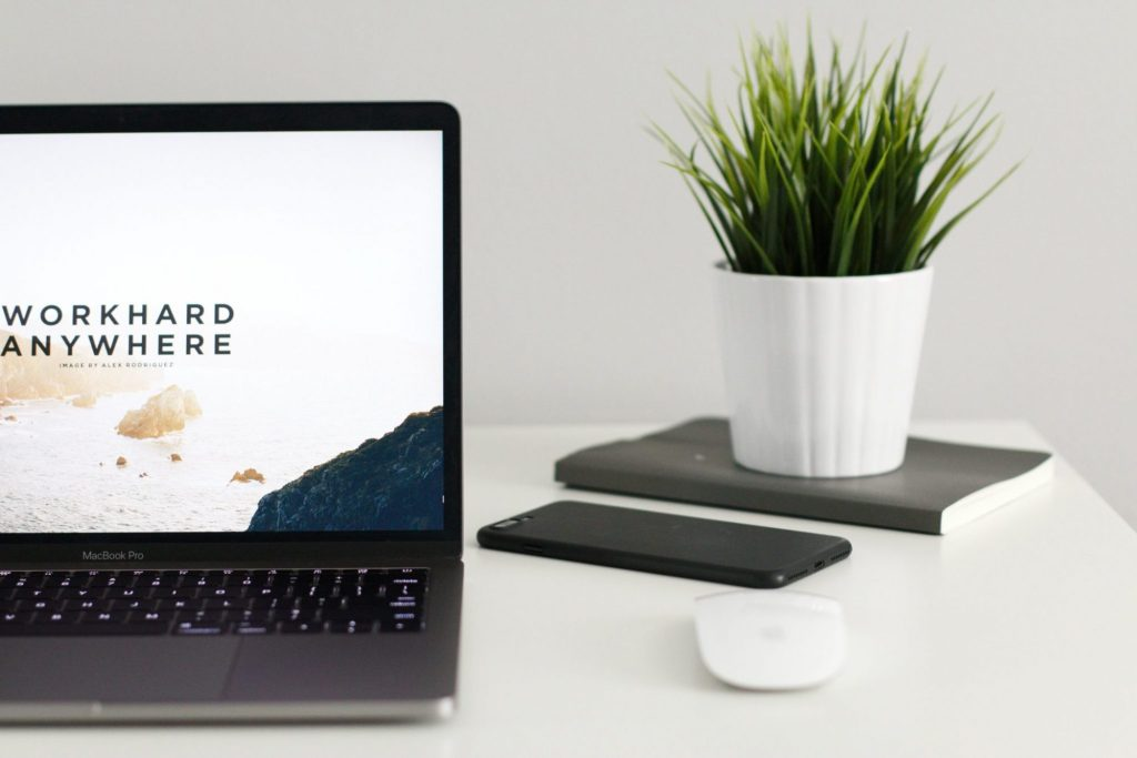 macbook, notebook and plant on a white minimalistic desk