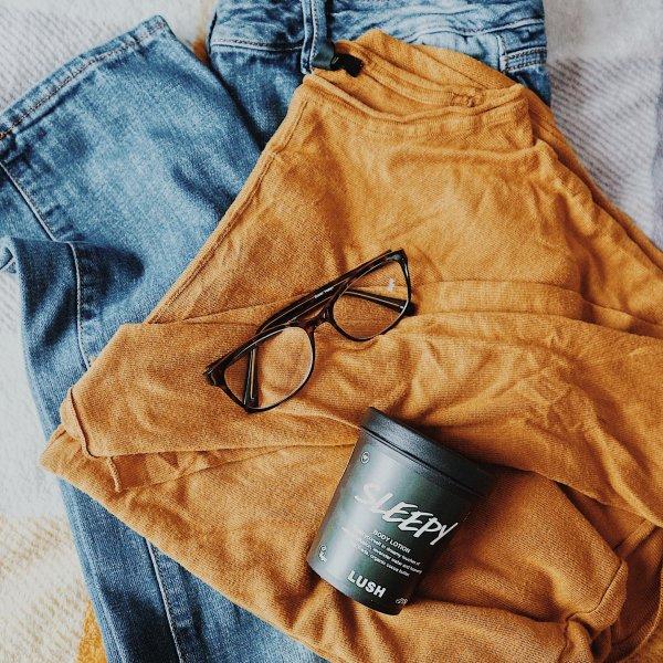 Blue Jeans | Mustard Jumper | Glasses | Lush Sleepy Body Lotion