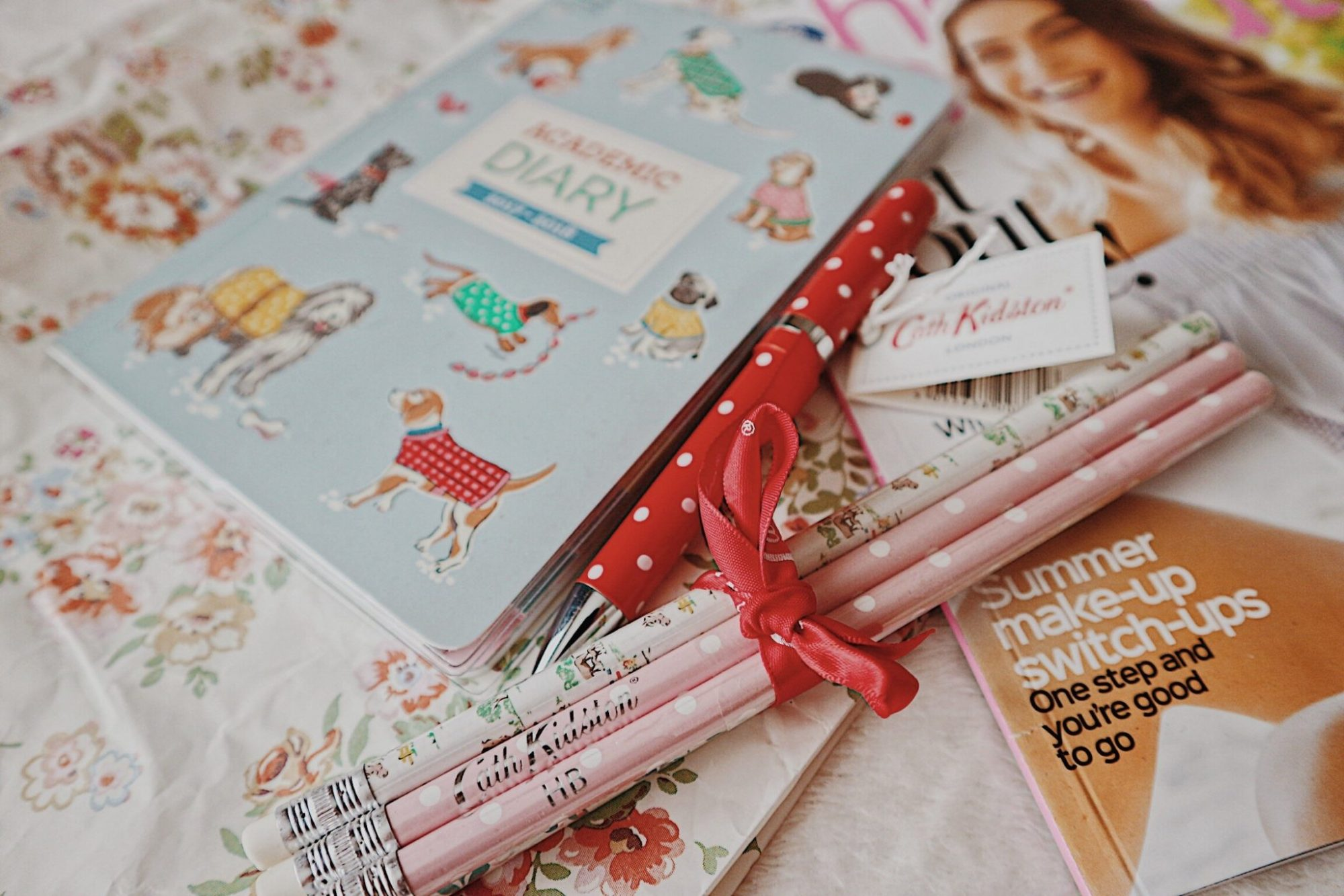 Cath Kidson Daily Year Planner | Red Polkadot Pen | Pink Pencils