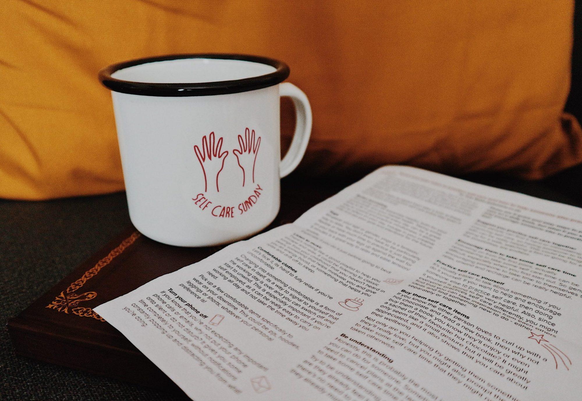 Self Care Sundays Mug | Sheffield Futures Self Care Tips List | Mustard Throw Pillow