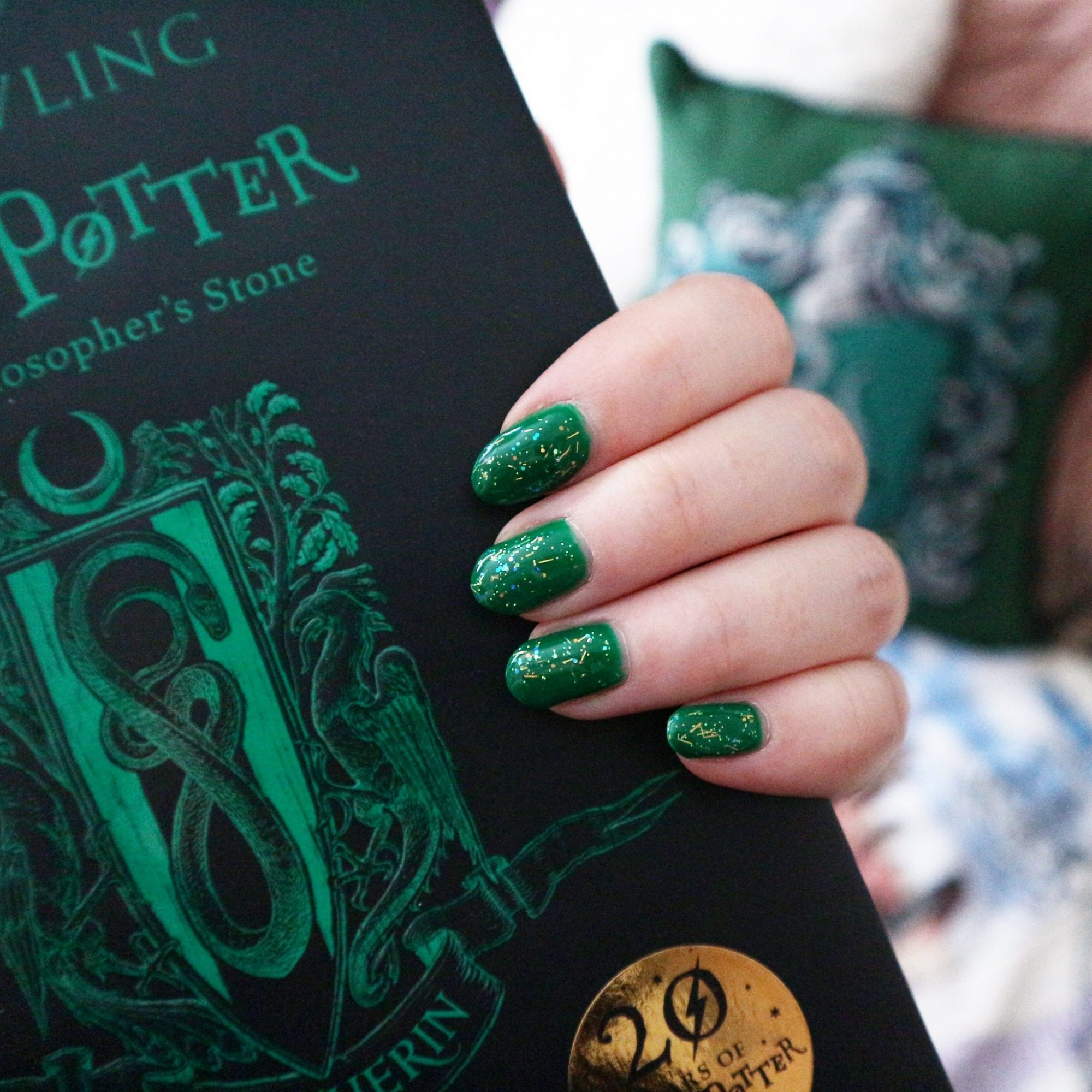 Harry Potter Slytherin House Book and Green Nails