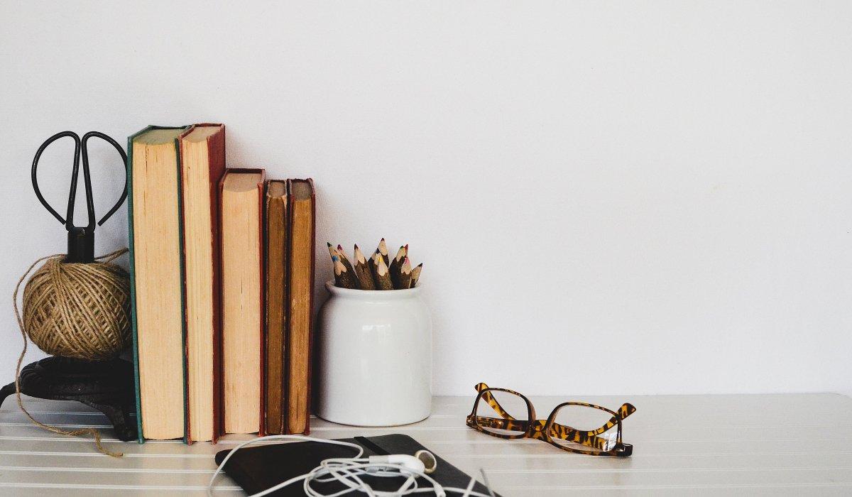 Books • Bookshelf • Lifestyle • Glasses • Headphones • Notepad