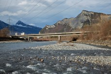 The Bridge over the Rhine in Bad Ragaz (1961–1962, widened in 1971–1972), is three-span prestressed concrete bridge with spans of 58, 82, and 58m long [© Ralph Feiner]