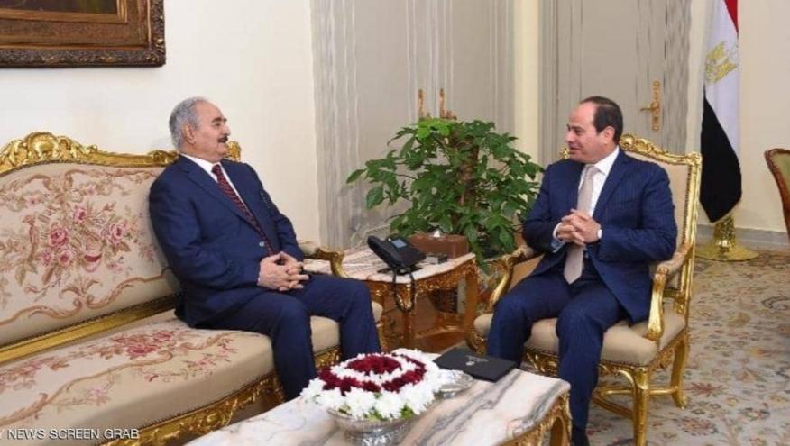 السيسي يستقبل حفتر ليبيا