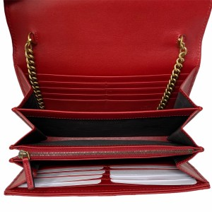 Gucci Red Hibiscus Chevron GG Marmont Wallet On Chain