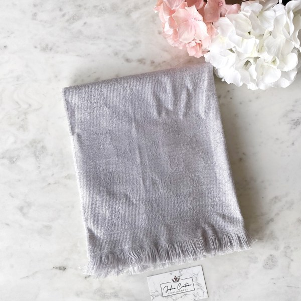 Gucci Silver GG Jacquard Knitted Scarf
