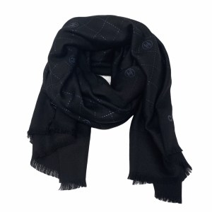 Chanel Black Wool Quilt CC Scarf