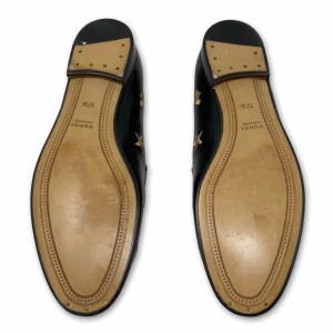Gucci Black Calf Leather Embroidered Jordaan Loafers 37.5