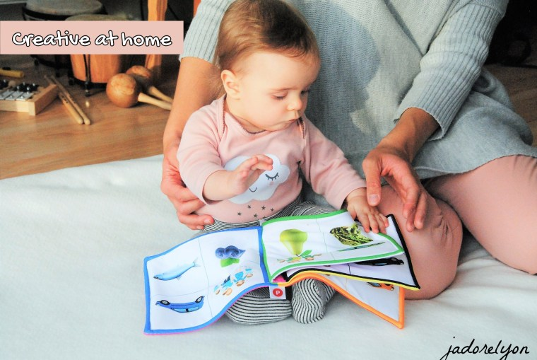 Baby's creative activity at home in France.