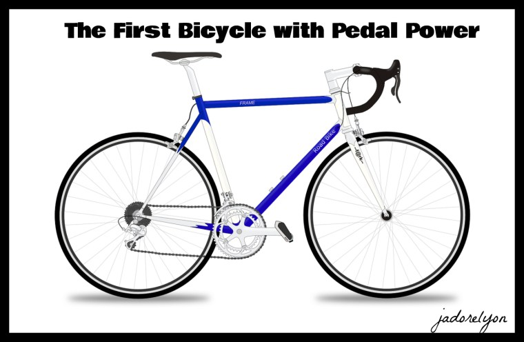 The First Bicycle with Pedal Power.