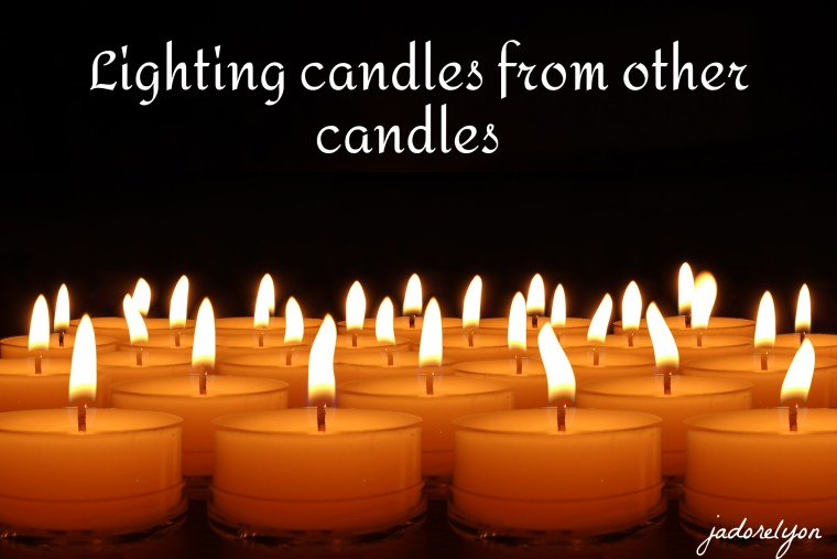 Lighting candles from other candles.