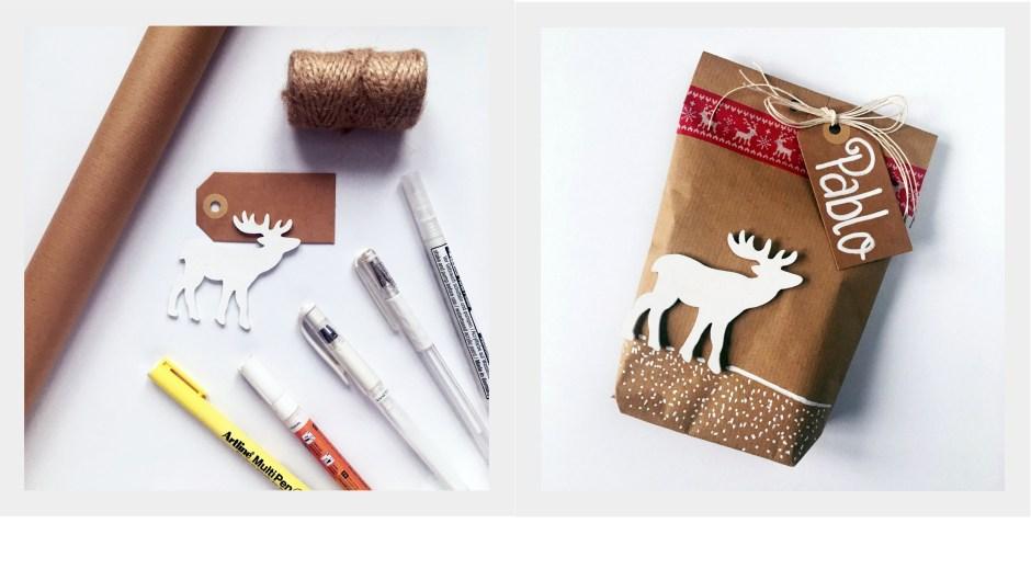 8 sposób zapakowania prezentu w szary papier by Jadźka Rysuje
